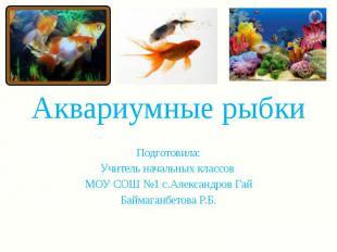 Аквариумные рыбки Подготовила: Учитель начальных классов МОУ СОШ №1 с.Александро