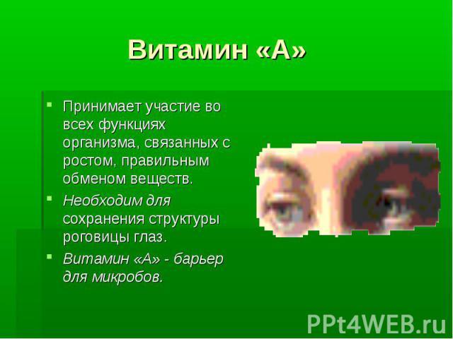 Витамин «А» Принимает участие во всех функциях организма, связанных с ростом, правильным обменом веществ. Необходим для сохранения структуры роговицы глаз. Витамин «А» - барьер для микробов.