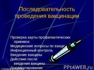 Последовательность проведения вакцинации Проверка карты профилактических прививо