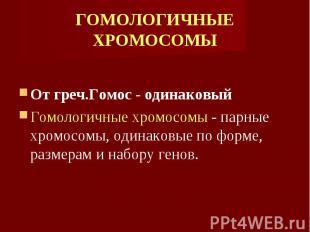 От греч.Гомос - одинаковый От греч.Гомос - одинаковый Гомологичные хромосомы - п