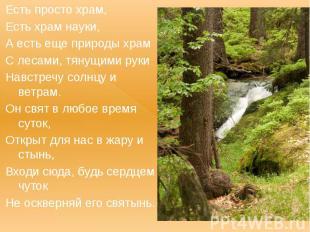Есть просто храм, Есть храм науки, А есть еще природы храм С лесами, тянущими ру