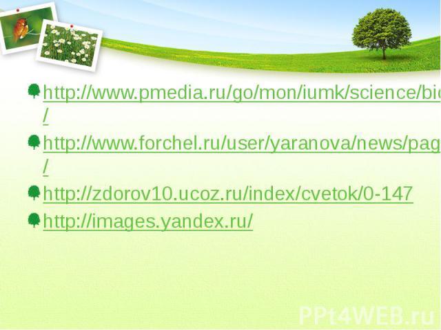 http://www.pmedia.ru/go/mon/iumk/science/bio_1/ http://www.forchel.ru/user/yaranova/news/page/15/ http://zdorov10.ucoz.ru/index/cvetok/0-147 http://images.yandex.ru/