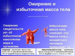 Ожирение и избыточная масса тела «ожирение» и «избыточная масса тела» — это не с