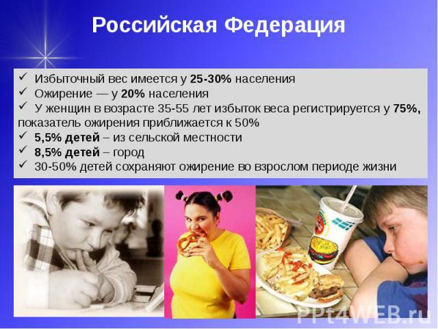 Российская Федерация Избыточный вес имеется у 25-30% населения Ожирение — у 20% населения У женщин в возрасте 35-55 лет избыток веса регистрируется у 75%, показатель ожирения приближается к 50% 5,5% детей – из сельской местности 8,5% детей – город 3…