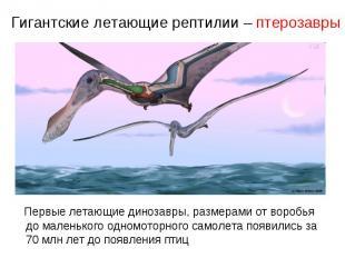 Гигантские летающие рептилии – птерозавры Первые летающие динозавры, размерами о