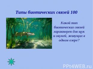 Какой тип биотических связей характерен для щук и окуней, живущих в одном озере?