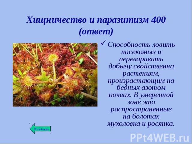 Способность ловить насекомых и переваривать добычу свойственна растениям, произрастающим на бедных азотом почвах. В умеренной зоне это распространенные на болотах мухоловка и росянка. Способность ловить насекомых и переваривать добычу свойственна ра…