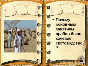 Почему основным занятием арабов было кочевое скотоводство? Почему основным занят