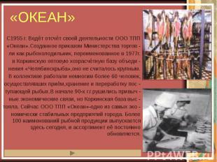 «ОКЕАН» С1955 г. Ведёт отсчёт своей деятельности ООО ТПП «Океан».Созданное прика