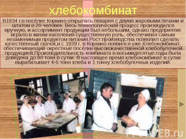 хлебокомбинат В1934 г.в посёлке Коркино открылась пекарня с двумя жаровыми печами и штатом в 20 человек. Весь технологический процесс производился вручную, и ассортимент продукции был небольшим, однако предприятие играло в жизни населения существенн…