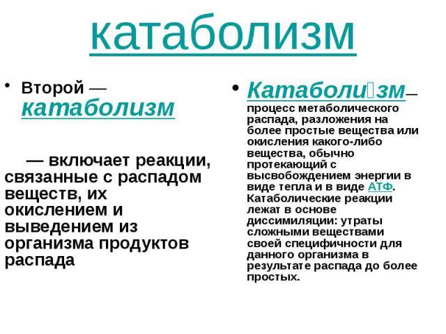 катаболизм Второй— катаболизм — включает реакции, связанные с распадом веществ, их окислением и выведением из организма продуктов распада