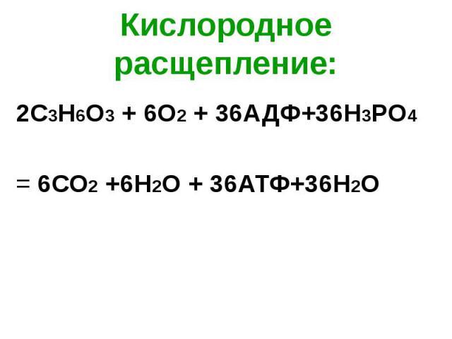 Кислородное расщепление: 2С3Н6О3 + 6О2 + 36АДФ+36Н3РО4 = 6СО2 +6Н2О + 36АТФ+36H2О