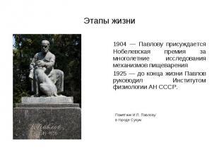 1904 — Павлову присуждается Нобелевская премия за многолетние исследования механ