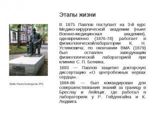 В 1875 Павлов поступает на 3-й курс Медико-хирургической академии (ныне Военно-м