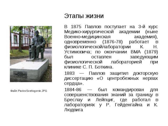 В 1875 Павлов поступает на 3-й курс Медико-хирургической академии (ныне Военно-медицинская академия), одновременно (1876-78) работает в физиологическойлаборатории К. Н. Устимовича; по окончании ВМА (1879) был оставлен заведующим физиологической лабо…