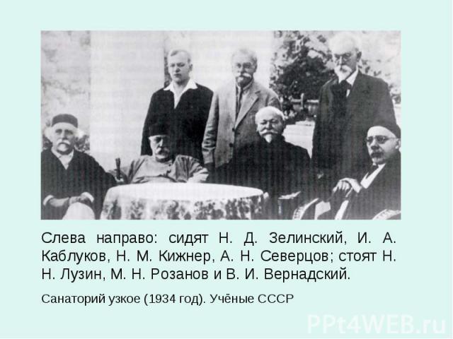 Слева направо: сидят Н. Д. Зелинский, И. А. Каблуков, Н. М. Кижнер, А. Н. Северцов; стоят Н. Н. Лузин, М. Н. Розанов и В. И. Вернадский. Слева направо: сидят Н. Д. Зелинский, И. А. Каблуков, Н. М. Кижнер, А. Н. Северцов; стоят Н. Н. Лузин, М. Н. Роз…