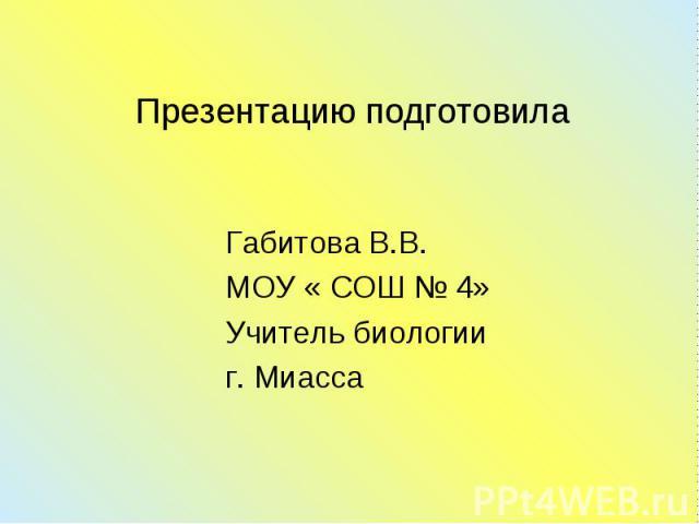 Габитова В.В. Габитова В.В. МОУ « СОШ № 4» Учитель биологии г. Миасса