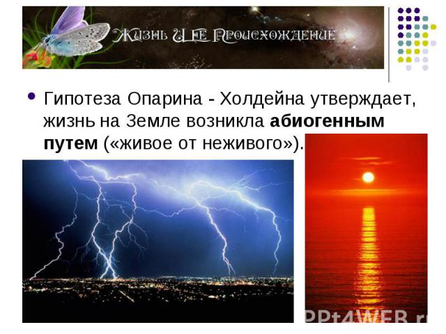 Гипотеза Опарина - Холдейна утверждает, жизнь на Земле возникла абиогенным путем («живое от неживого»). Гипотеза Опарина - Холдейна утверждает, жизнь на Земле возникла абиогенным путем («живое от неживого»).