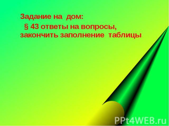 Задание на дом: Задание на дом: § 43 ответы на вопросы, закончить заполнение таблицы