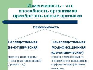 Изменчивость Изменчивость Наследственная Ненаследственная (генотипическая) Модиф