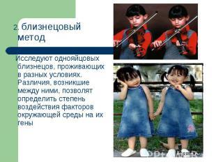2. близнецовый метод 2. близнецовый метод Исследуют однояйцовых близнецов, прожи