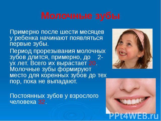 Молочные зубы Примерно после шести месяцев у ребенка начинают появляться первые зубы. Период прорезывания молочных зубов длится, примерно, до 2-ух лет. Всего их вырастает 20. Молочные зубы формируют место для коренных зубов до тех пор, пока не выпад…