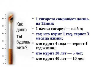 1 сигарета сокращает жизнь на 15мин; 1 пачка сигарет — на 5 ч; тот, кто курит 1