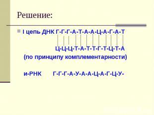 Решение: I цепь ДНК Г-Г-Г-А-Т-А-А-Ц-А-Г-А-Т Ц-Ц-Ц-Т-А-Т-Т-Г-Т-Ц-Т-А (по принципу