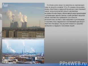 Особенно резко возросла нагрузка на окружающую среду во второй половине XX в. Во