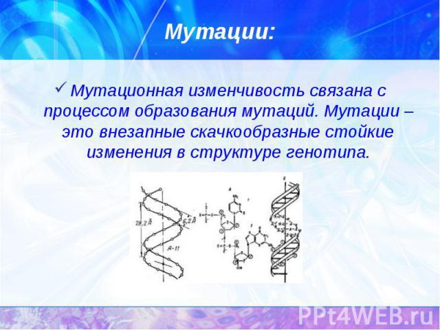 Мутационная изменчивость связана с процессом образования мутаций. Мутации – это внезапные скачкообразные стойкие изменения в структуре генотипа. Мутационная изменчивость связана с процессом образования мутаций. Мутации – это внезапные скачкообразные…