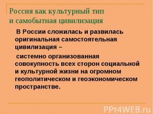 В России сложилась и развилась оригинальная самостоятельная цивилизация – В Росс