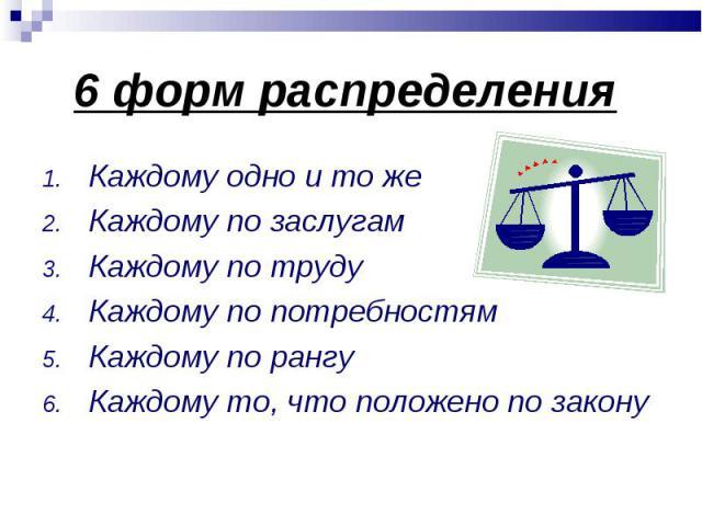 Каждому одно и то же Каждому одно и то же Каждому по заслугам Каждому по труду Каждому по потребностям Каждому по рангу Каждому то, что положено по закону