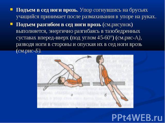 Подъем в сед ноги врозь. Упор согнувшись на брусьях учащийся принимает после размахивания в упоре на руках. Подъем в сед ноги врозь. Упор согнувшись на брусьях учащийся принимает после размахивания в упоре на руках. Подъем разгибом в сед ноги врозь …
