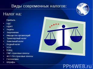 Налог на: Налог на: Прибыль НДС НДФЛ Акцизы Загрязнение Имущество организаций Тр