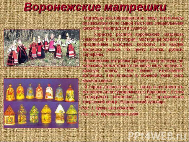 Воронежские матрешки Матрешки изготавливаются из липы, затем куклы расписываются по сырой заготовке специальными красками, лакируются и сушатся. Характер росписи воронежских матрешек самобытен и не повторим. Мастерицы одевают в праздничные народные …