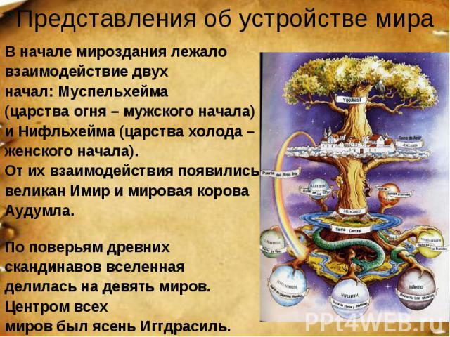 Представления об устройстве мира В начале мироздания лежало взаимодействие двух начал: Муспельхейма (царства огня – мужского начала) и Нифльхейма (царства холода – женского начала). От их взаимодействия появились великан Имир и мировая корова Аудумл…