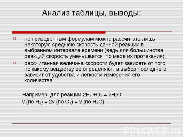 Анализ таблицы, выводы: по приведённым формулам можно рассчитать лишь некоторую среднюю скорость данной реакции в выбранном интервале времени (ведь для большинства реакций скорость уменьшается по мере их протекания); рассчитанная величина скорости б…