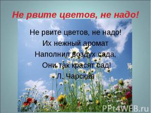 Не рвите цветов, не надо! Не рвите цветов, не надо! Их нежный аромат Наполнил во