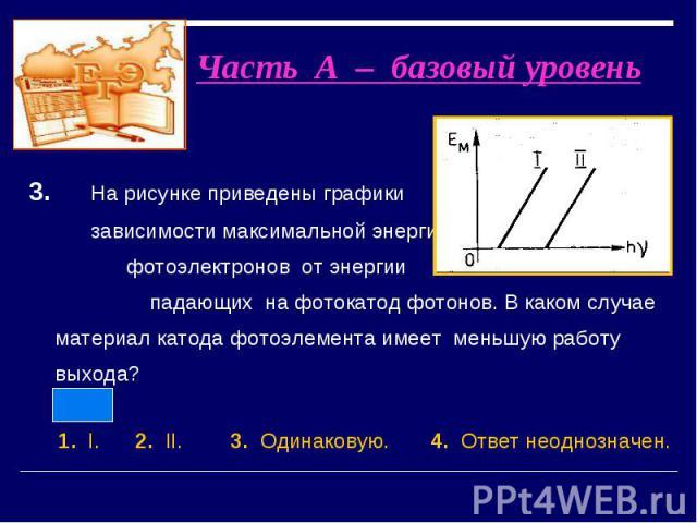 3. На рисунке приведены графики зависимости максимальной энергии фотоэлектронов от энергии падающих на фотокатод фотонов. В каком случае материал катода фотоэлемента имеет меньшую работу выхода? 3. На рисунке приведены графики зависимости максимальн…