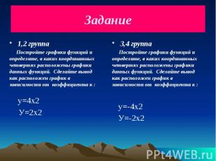 Задание 1,2 группа Постройте графики функций и определите, в каких координатных