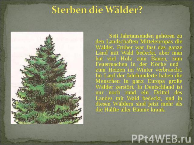Seit Jahrtausenden gehören zu den Landschaften Mitteleuropas die Wälder. Früher war fast das ganze Land mit Wald bedeckt, aber man hat viel Holz zum Bauen, zum Feuermachen in der Köche und zum Heizen im Winter verbraucht. Im Lauf der Jahrhunderte ha…