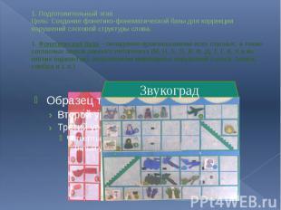 1. Подготовительный этап Цель: Создание фонетико-фонематической базы для коррекц
