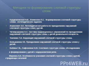 Методики по формированию слоговой структуры слова: Курдвановская Н.В., Ванюкова