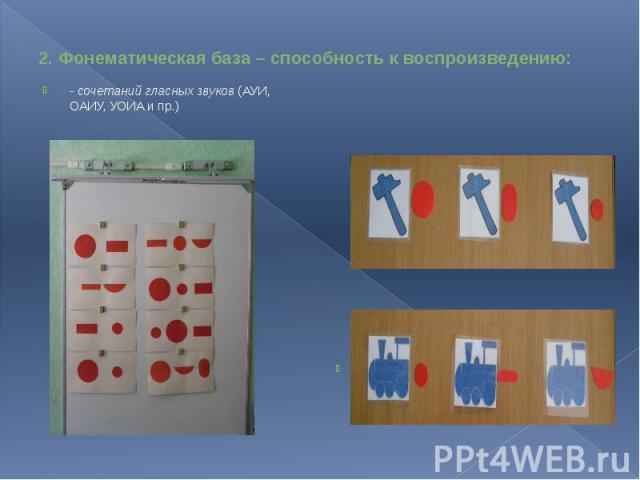 2. Фонематическая база – способность к воспроизведению: - сочетаний гласных звуков (АУИ, ОАИУ, УОИА и пр.)