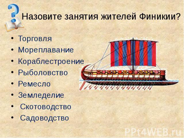 Назовите занятия жителей Финикии? Торговля Мореплавание Кораблестроение Рыболовство Ремесло Земледелие Скотоводство Садоводство