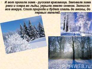 И вот пришла зима - русская красавица. Заковала зима реки и озера во льды, укрыл