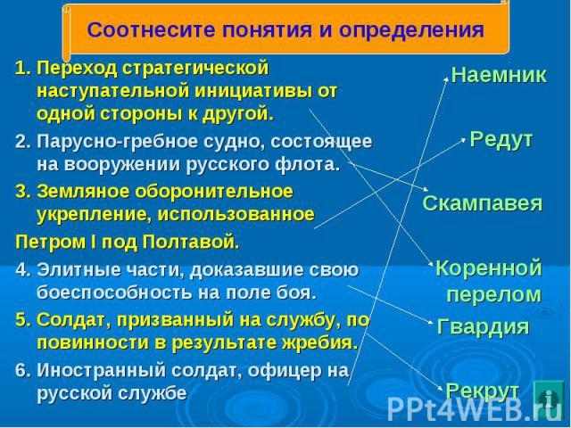 1. Переход стратегической наступательной инициативы от одной стороны к другой. 1. Переход стратегической наступательной инициативы от одной стороны к другой. 2. Парусно-гребное судно, состоящее на вооружении русского флота. 3. Земляное оборонительно…