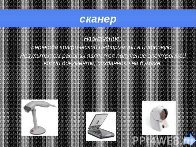 сканер Назначение: перевода графической информации в цифровую. Результатом работы является получение электронной копии документа, созданного на бумаге.