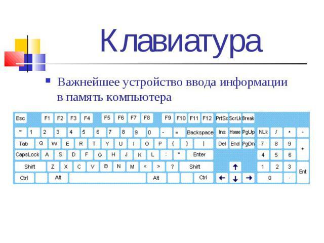 Важнейшее устройство ввода информации в память компьютера Важнейшее устройство ввода информации в память компьютера
