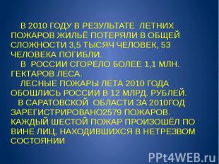 В 2010 ГОДУ В РЕЗУЛЬТАТЕ ЛЕТНИХ ПОЖАРОВ ЖИЛЬЁ ПОТЕРЯЛИ В ОБЩЕЙ СЛОЖНОСТИ 3,5 ТЫС